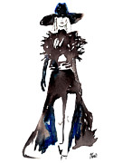 Runway Fashion Art Posters - Fashion Illustration Art Print YSL Runway 2013 YVES SAINT LAURENT Poster by Jennifer Purcell