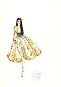 Sequin Drawings Prints - Fashion Illustration Gold Sequin Dress Print by Alex Newton