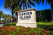 Southern Flowers Posters - Fashion Island Sign in Newport Beach California Poster by Paul Velgos