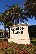 Southern Flowers Posters - Fashion Island Sign in Orange County California Poster by Paul Velgos