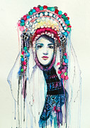 Watercolor Portrait Posters - Fashion Poster by Lyubomir Kanelov