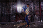 Loose Style Photo Metal Prints - Fashion Model in Jeans  Metal Print by Best Fashion Photo