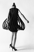 Black And White Photography Metal Prints - Fashion model twirling Metal Print by Diane Diederich