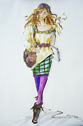 Bohemian Drawings - Fashion on the Run by Gloria  Nilsson