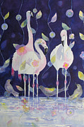 Flamingos Paintings - Fashion Statement 3 by Suzy Pal Powell