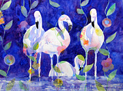Flamingos Paintings - Fashion Statment by Suzy Pal Powell