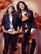 Preteen Posters - Fashionably dressed boy and teenage girl fall fashion Poster by Oleksiy Maksymenko