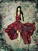 Burgundy Mixed Media Posters - Fashionista Mixed Media painting by Janelle Nichol Poster by Janelle Nichol