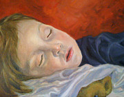 Children Portrait Print Prints - Fast Asleep Print by Hope Lane