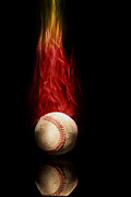 Flaming Posters - Fast Ball Poster by Tom Mc Nemar