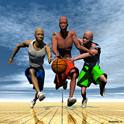 Basketball Players Prints - Fast Break Print by Walter Neal