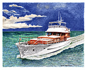 Yacht Paintings - Fast Cruising Fedship Yacht by Jack Pumphrey