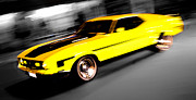 Ford Custom V8 Posters - Fast Ford Mustang Mach 1 Poster by Phil