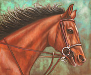 Thoroughbred Paintings - Fast Forward by Eve  Wheeler