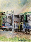 Locomotive Pastels Prints - Fast Frieght at the Crossing Print by Tim  Swagerle