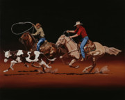 Team Paintings - Fast Horses and Sure Ropes by Hugh Blanding