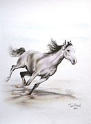 Horse Drawing Metal Prints - Fast in the Spirit Metal Print by Tamer Elsharouni
