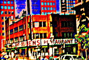 Street Scenes Painting Posters - Fast Paced Life In The City Scenes Of Downtown  Montreal Restaurants Skyscrapers And Bens Deli  Poster by Carole Spandau
