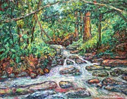 Expressionist Creek Oil Paintings - Fast Water Wildwood Park by Kendall Kessler