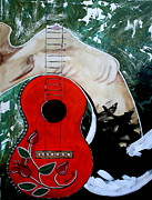 Guitar Strings Painting Originals - Fat bottom girls you make this rocking world go round by Amy Sorrell