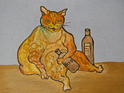 Texas Wildlife Print Art - Fat Cat and Beer by Ella Kaye