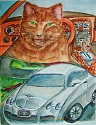 Gear Painting Posters - Fat Cat and the Bentley Poster by Elaine Duras