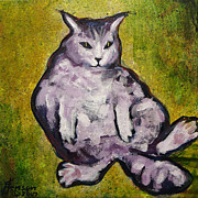 Pussy Mixed Media Framed Prints - Fat Cat Framed Print by Kenny Henson