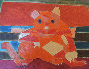 Abstracted Animal Paintings - Fat Cat on a Hot Chaise Lounge by Richard W Linford