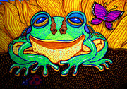 Bugs Drawings Prints - Fat Green Frog on a Sunflower Print by Nick Gustafson