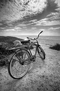 Bikes Posters - Fat Tire Black and White Poster by Peter Tellone