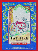 Game Room Posters - Fat Tire Poster by Cheryl Young