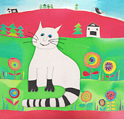 Illustration Tapestries - Textiles Prints - Fat White Cat Print by Yana Vergasova
