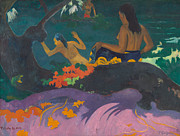 Signed Metal Prints - Fatata te Miti  Metal Print by Paul Gauguin