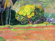 Symbolist Framed Prints - Fatata te Moua Framed Print by Paul Gauguin
