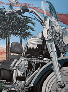 Motorcycle Painting Posters - Fatboy Sunset Poster by Gary Kroman