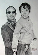 Hong Kong Drawings - Father and Child by Janet Gupta