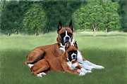 Boxer Digital Art Prints - Father and Daughter Print by Linda Gleason Ritchie