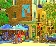 Montreal Streets Paintings - Father And Son Bike By Le Maitre Gourmet Marche Laurier Street Scene Art Of Montreal Carole Spandau by Carole Spandau