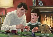 Toy Train Prints - Father And Son Building Model Railway Print by Martin Davey