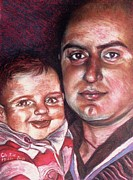 Father Pastels - Father and Son by Christine Mizzi