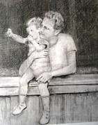 Father And Son Drawings - Father and Son by Dorothy Siclare