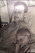 From Photograph Drawings Posters - Father and Son Poster by Jennifer Delamar-Goss