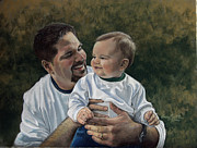 Son Pastels - Father and Son by Karen Barton