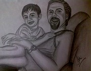 Father And Son Drawings - Father and Son by Syeda Ishrat