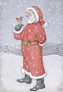 Saint Nicholas Paintings - Father Christmas and a Robin by Lavinia Hamer