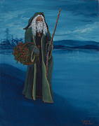 Winter Night Painting Metal Prints - Father Christmas Metal Print by Darice Machel McGuire