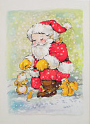 Christmas Card Painting Framed Prints - Father Christmas  Framed Print by Diane Matthes