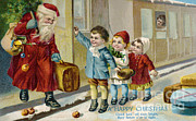 Father Christmas Disembarking Train Print by Mary Evans