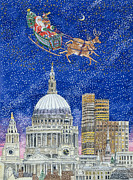 Cute Painting Posters - Father Christmas Flying over London Poster by Catherine Bradbury