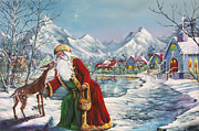 Father Christmas Paintings - Father Christmas II by Earl Butch Curtis